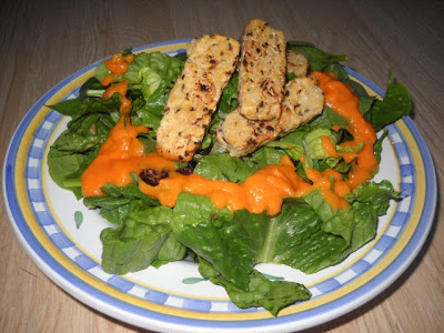 No Oil Salad Dressing: Green Salad with Tempeh and Orange Miso Dressing