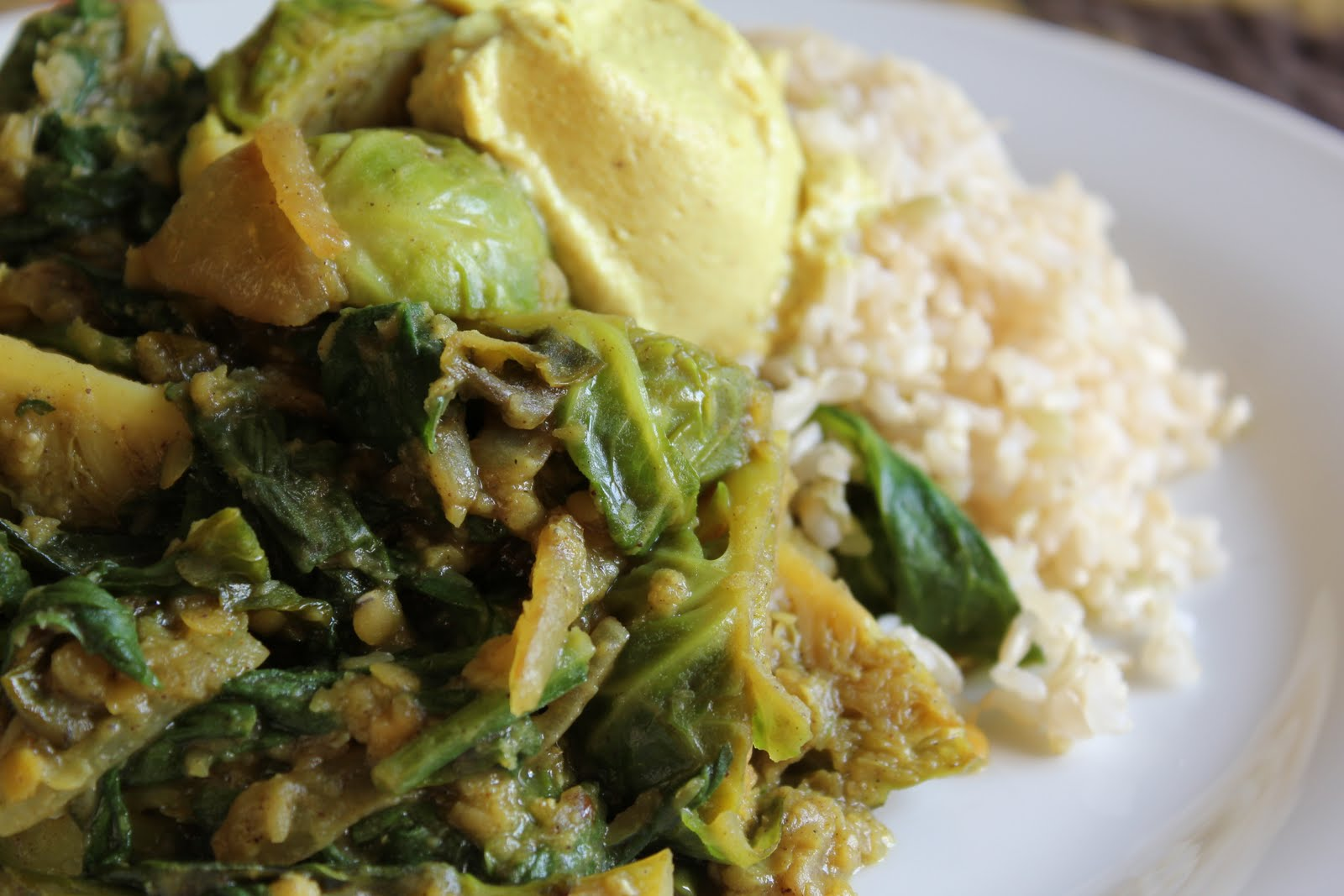 Vegan Indian Spiced Lentils with Spinach and Brussels ...