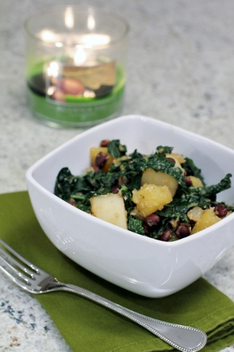 Quinny's Sri Lankan Kale with Black Beans and Sweet Potatoes