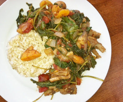 FAST! Moroccan Kale with Mushrooms and Apricots and Gratitude