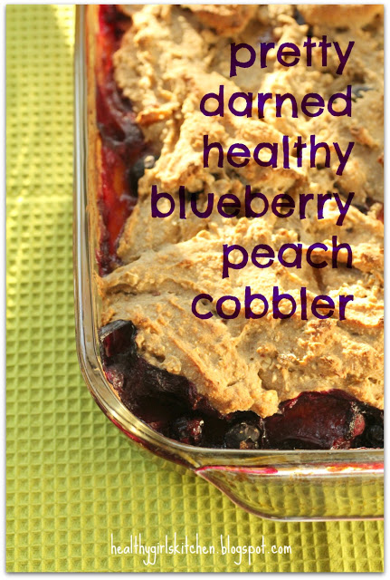 Pretty Darned Healthy Blueberry Peach Cobbler