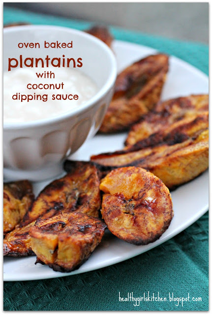 Oven Baked Plantains with Coconut Dipping Sauce, Tommy Bahama Style
