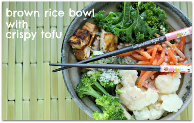 Brown Rice Bowl with Crispy Tofu, Veggies and Peanut Sauce