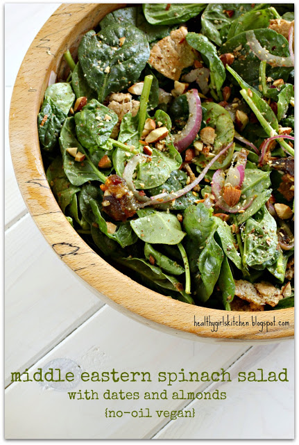 Middle Eastern Spinach Salad with Dates and Almonds