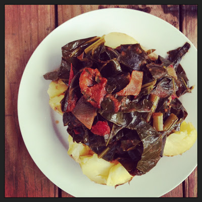 "Slow Cooked Collard Greens with ""Peanut"" Tomato Sauce"