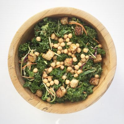 Craveable Bright Line Eating Massaged Kale Salad with Garlicky Tahini Dressing